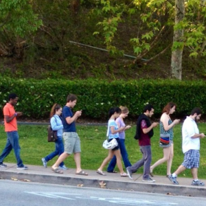 School kids using phones